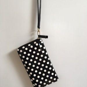 Halogen black and white patent wristlet/wallet